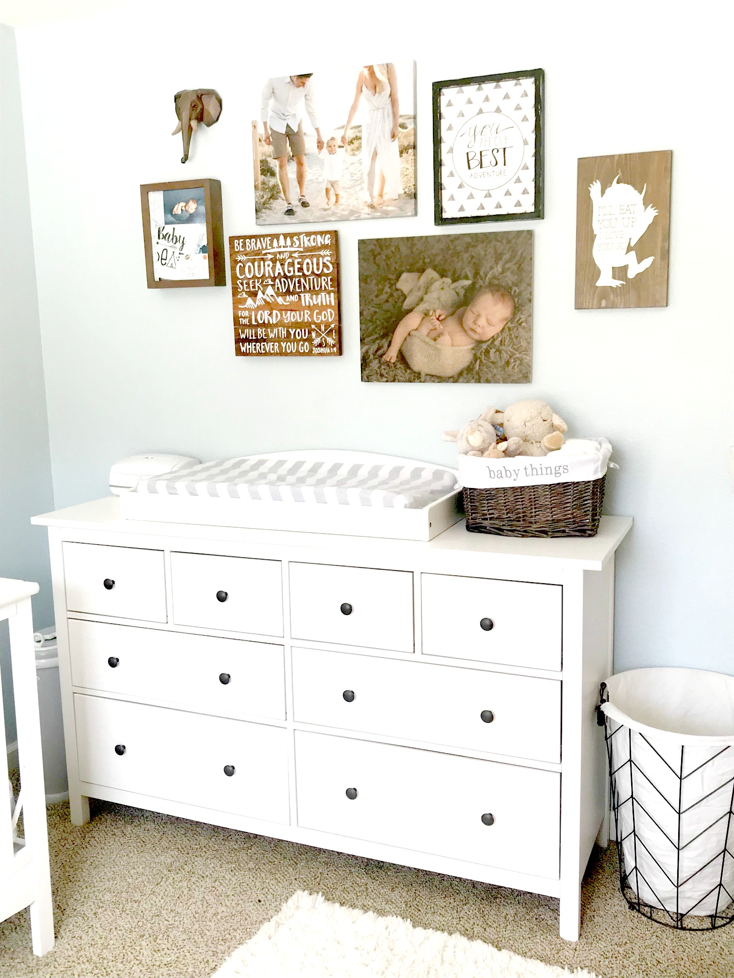 baby boy nursery, baby nursery, baby nursery ideas, nursery ideas, baby boy nursery ideas, changing table, nursery photo wall