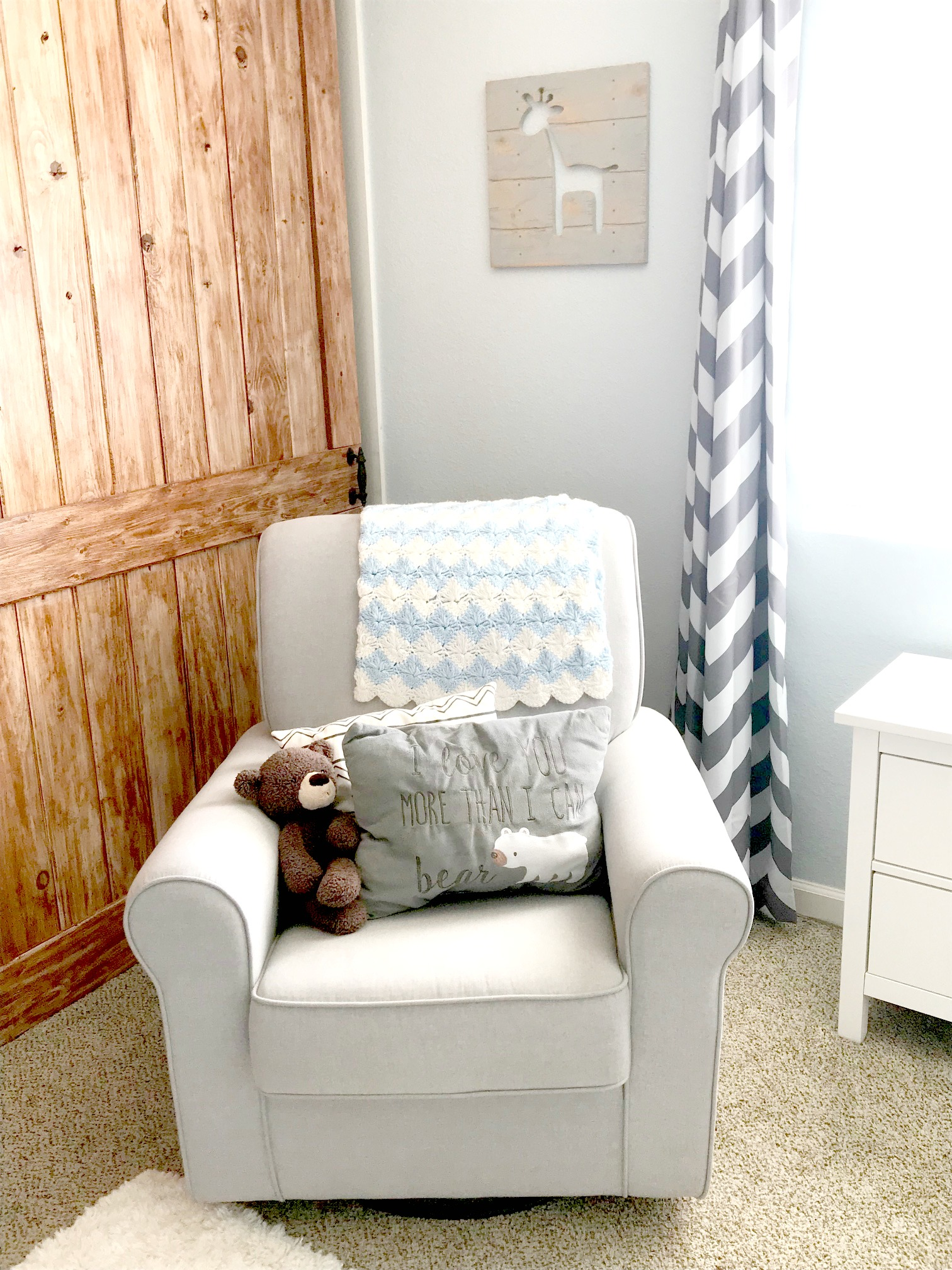 baby boy nursery, baby nursery, baby nursery ideas, nursery ideas, baby boy nursery ideas, glider, rocking chair, nursery photo wall